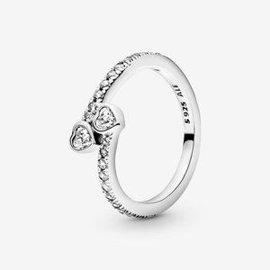 Pandora Two Sparkling Hearts Ring